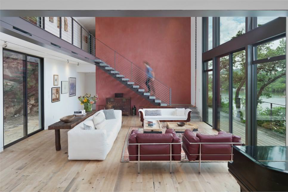 Living Room with Rich Red Accent Wall