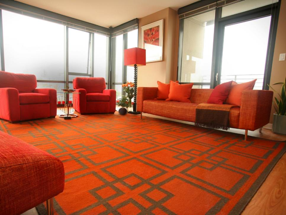 25 red living room designs decorating ideas design Orange and red living room design