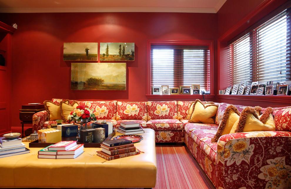 modren red traditional family room