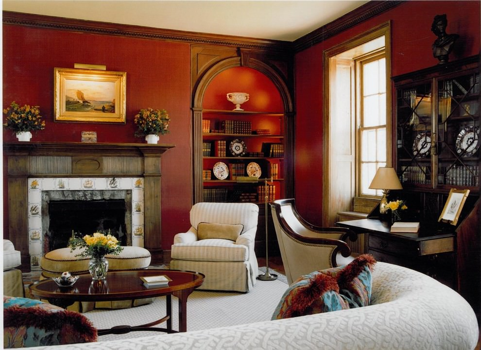Nice Red traditional living room