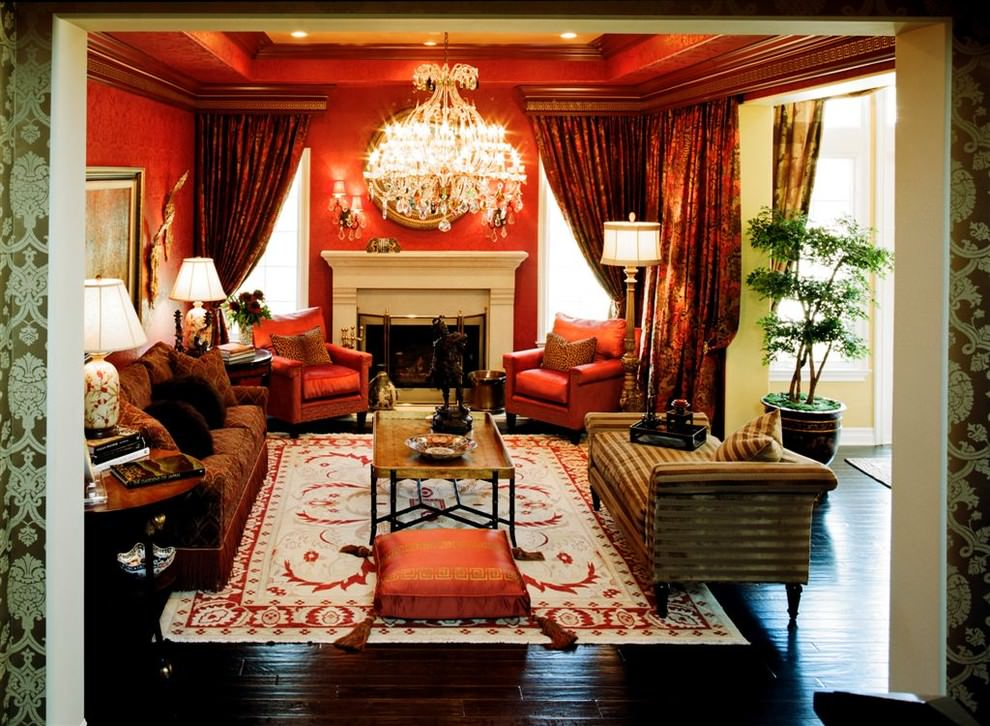 Pretty Red traditional living room