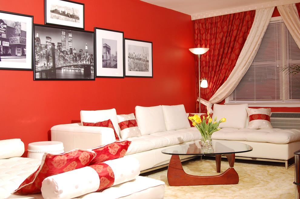 ravishing red contemporary living room