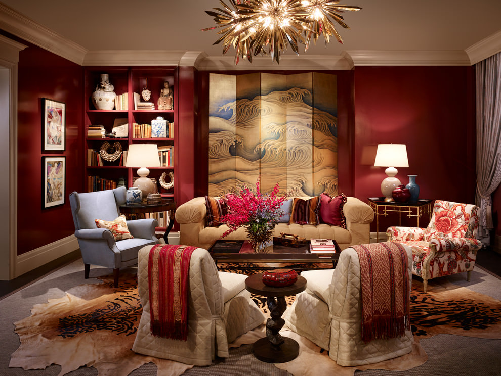 Trendy Red contemporary living room