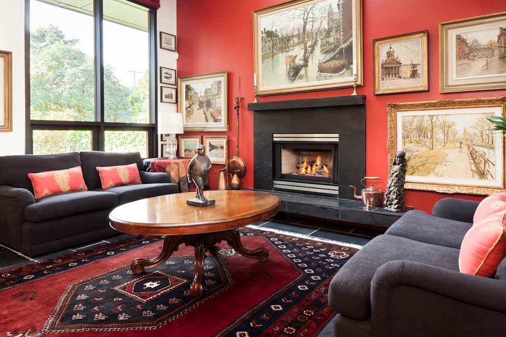 vibrant red eclectic living room