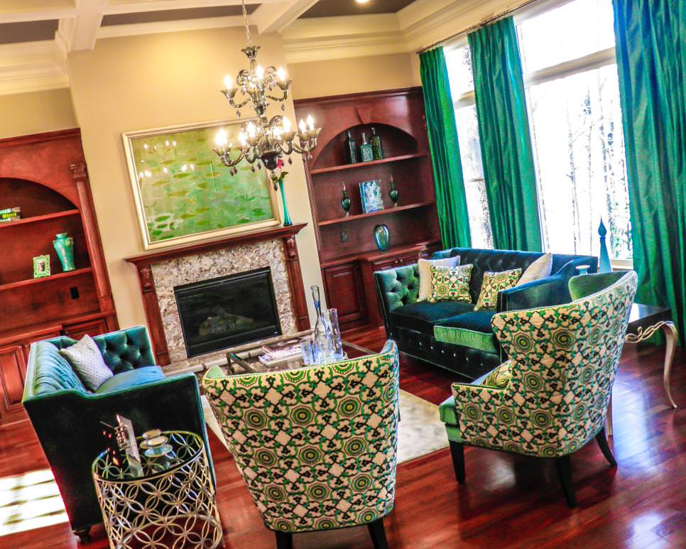 Living Room With Luxurious Green Curtains