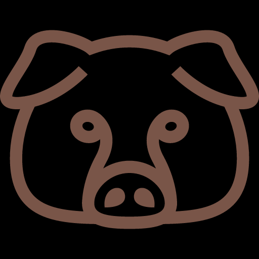 Outlined Funny Pig Icon