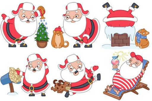 Funny Santa Icon Set