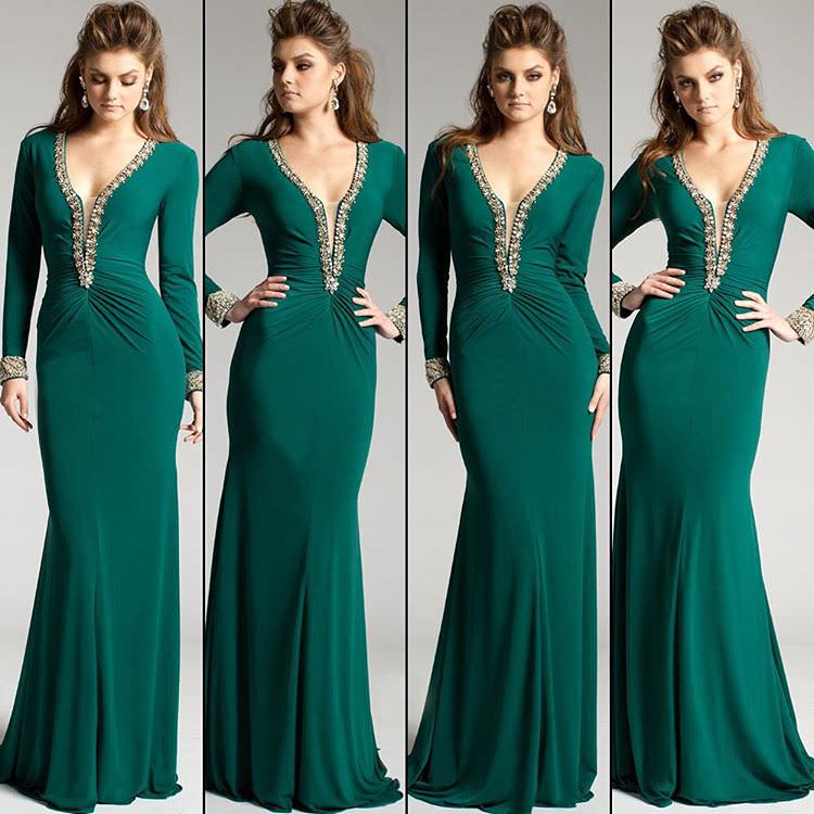 Green Colored Velvet Dress