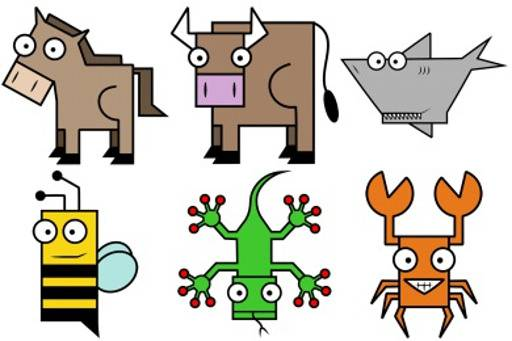 Funny Square Animal Set