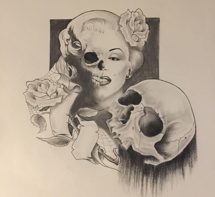 rose skull head sketch idea