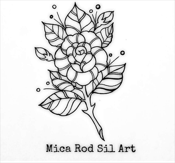 rose flower outline drawing