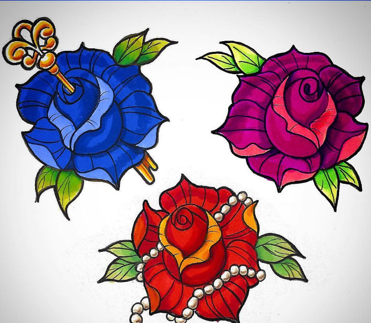 three roses with different colors