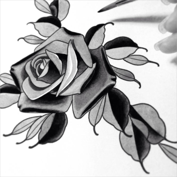 artistic single rose drawing