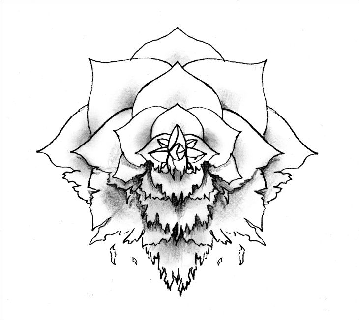 rose outline art idea