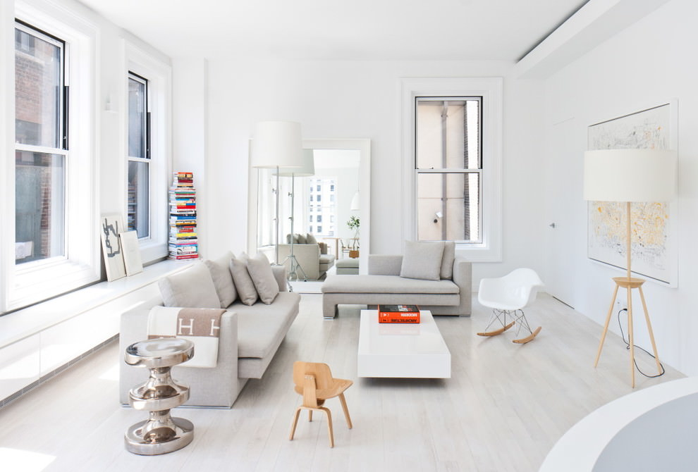 dazzling white square living room