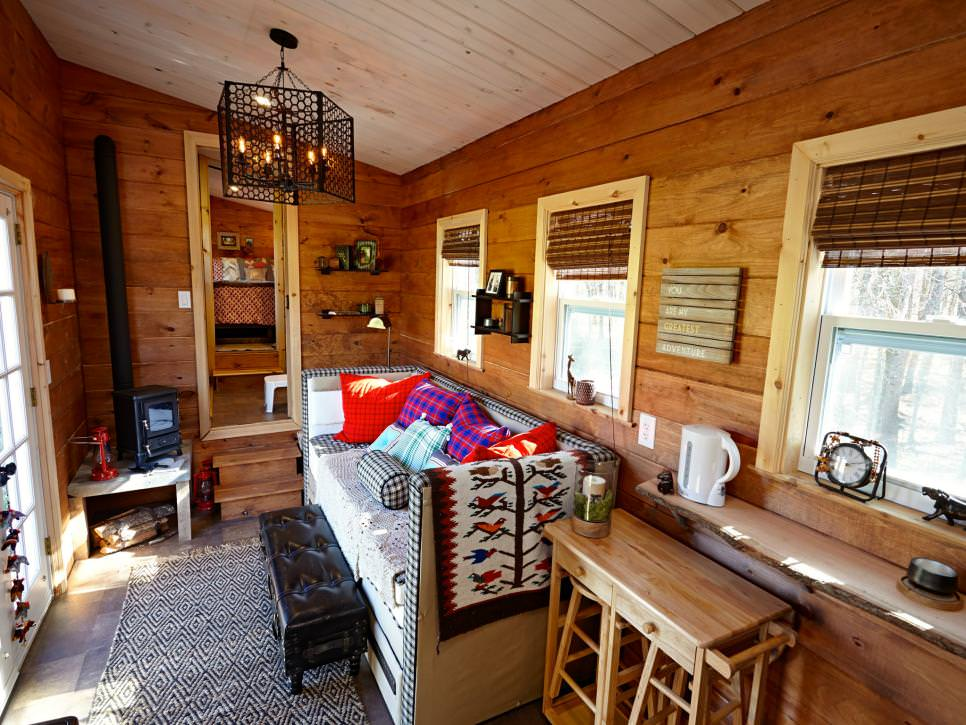 Tiny House Living Room With Wood Walls