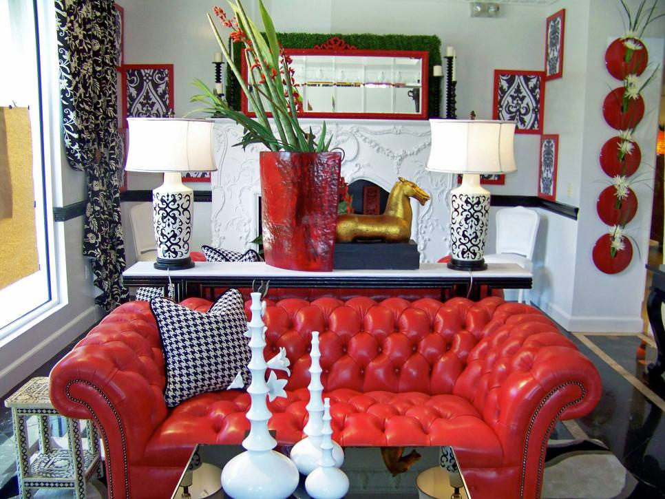 Eclectic Living Room With Vintage Red Leather Couch