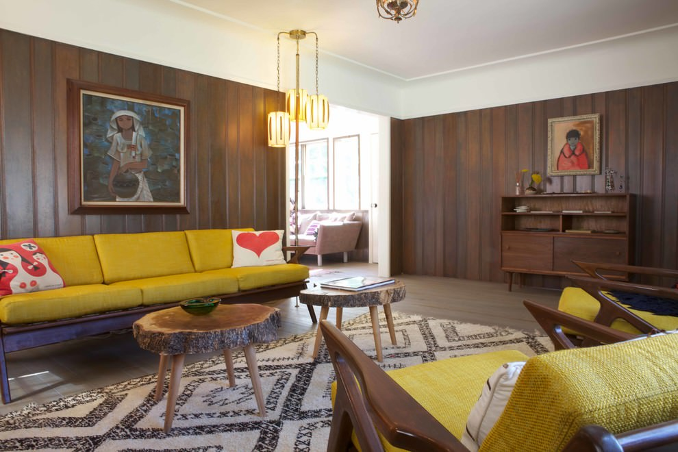 Eclectic living room with vintage sofa