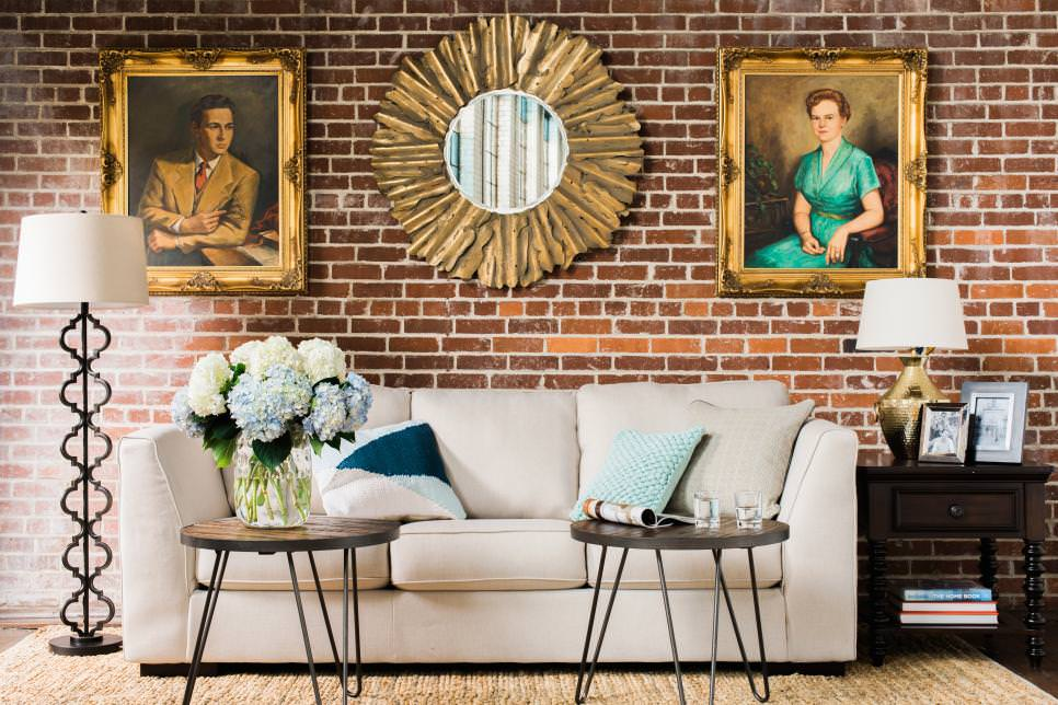 Living Room With Vintage Artwork and Mirror