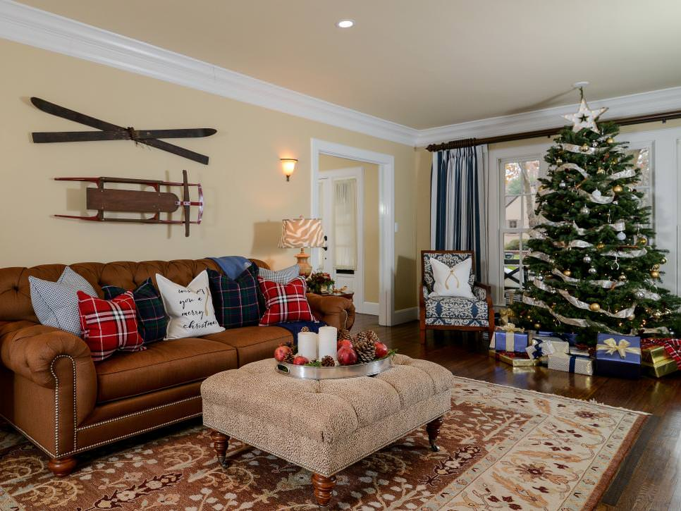 Traditional Living Room With Vintage Skis