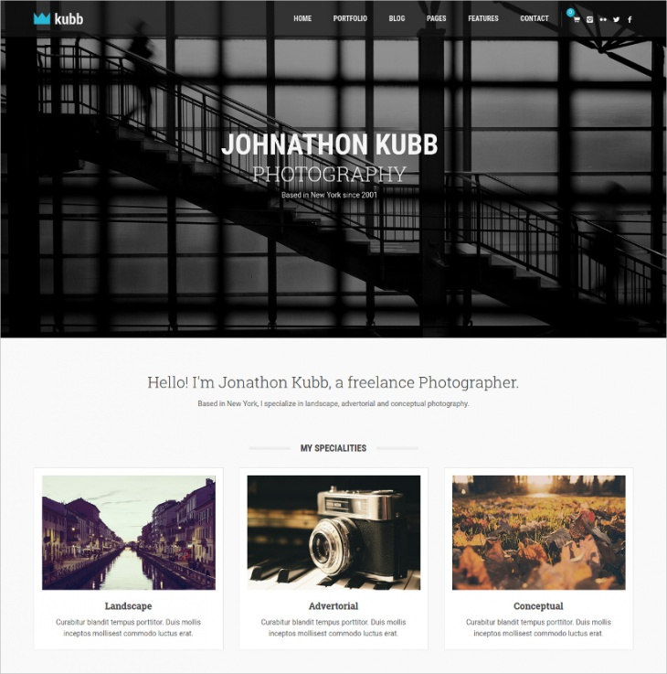 Flat Photography & Magazine Theme
