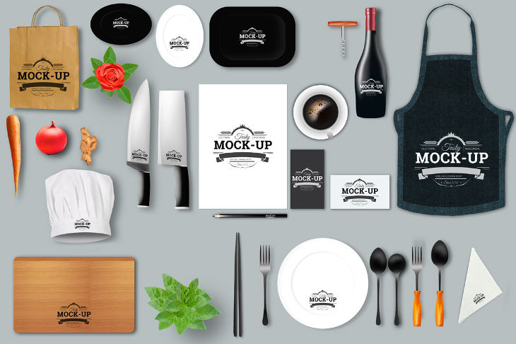 Smart Objects of Restaurant Mockup