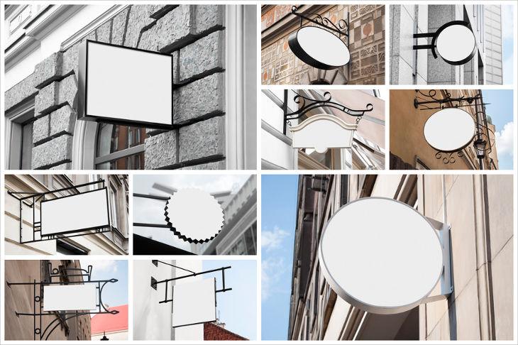 10 signs for restaurant mockups