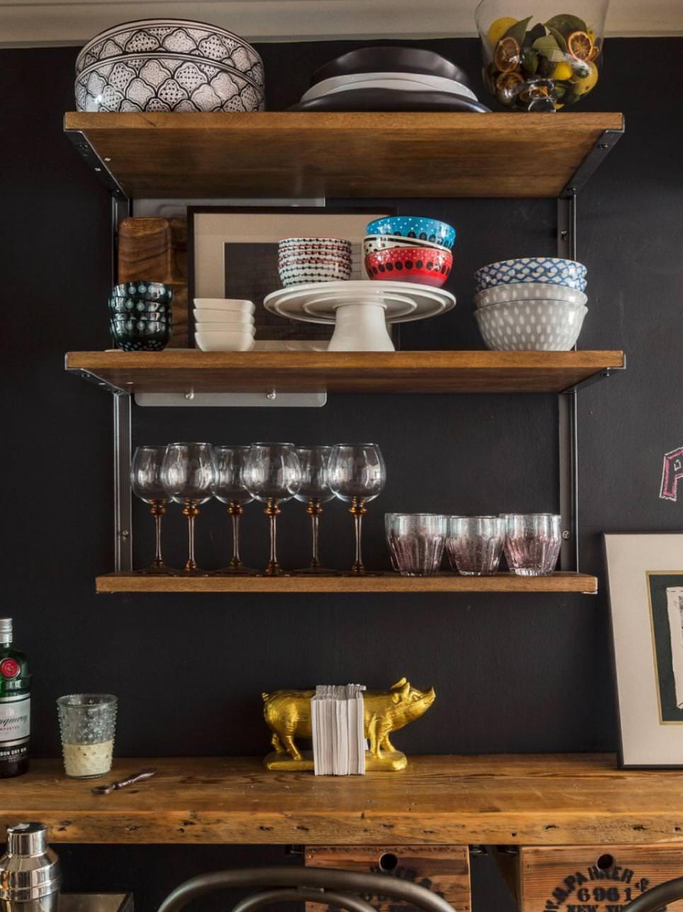 Rustic Wine Bar With Open Shelving