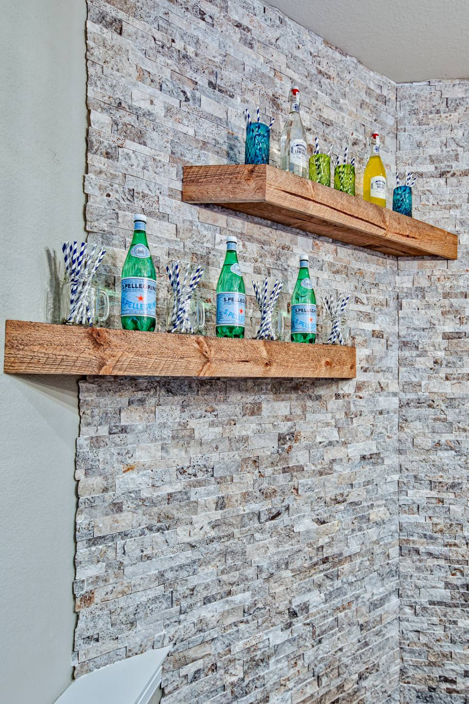 Rustic Wood Floating Shelves and Stone Wall
