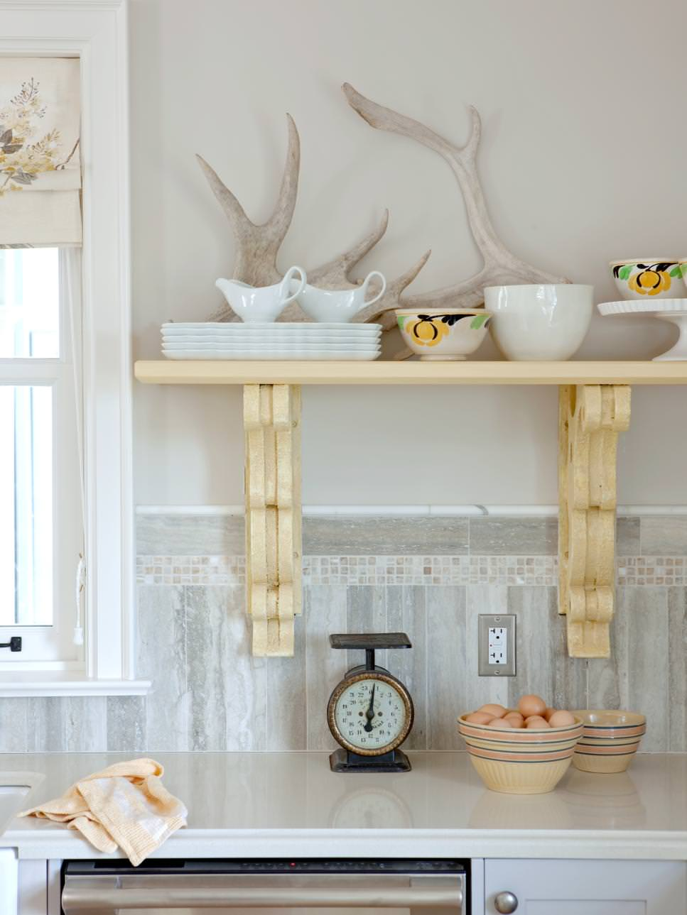 White Rustic Kitchen With Yellow Shelf
