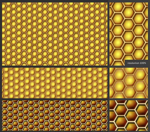 Set og Honeycomb Patterns