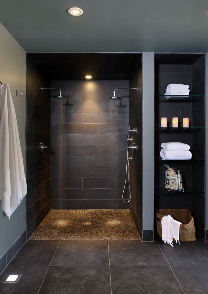 contemporary bathroom basement design