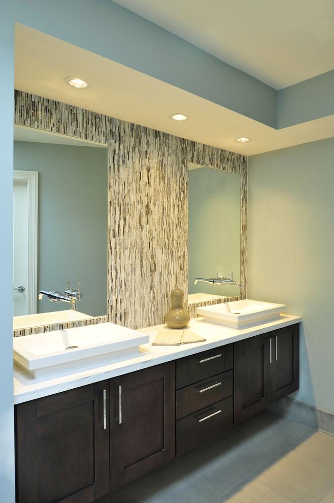elegant transitional bathroom with backsplash - Backsplash In Bathroom