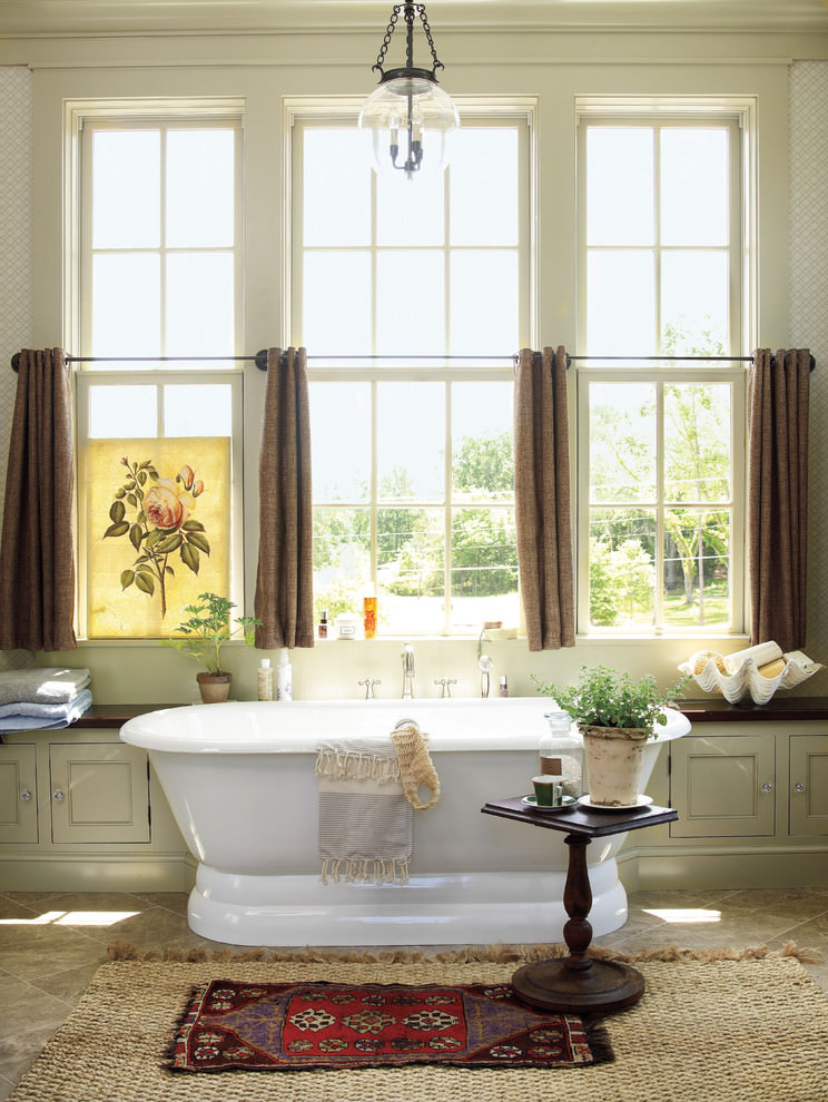 Farmhouse bathroom with nice curtain design