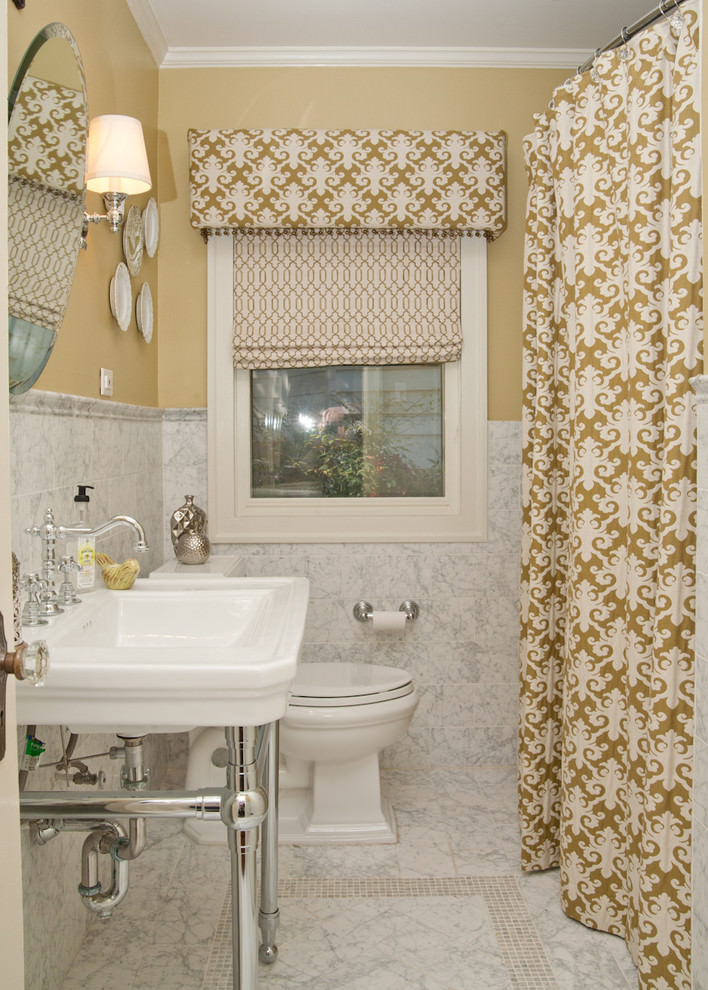 Traditional Bathroom Flora Design Curtains