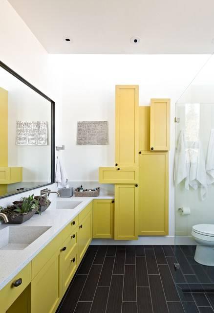 contemporary bathroom yellow cabinate