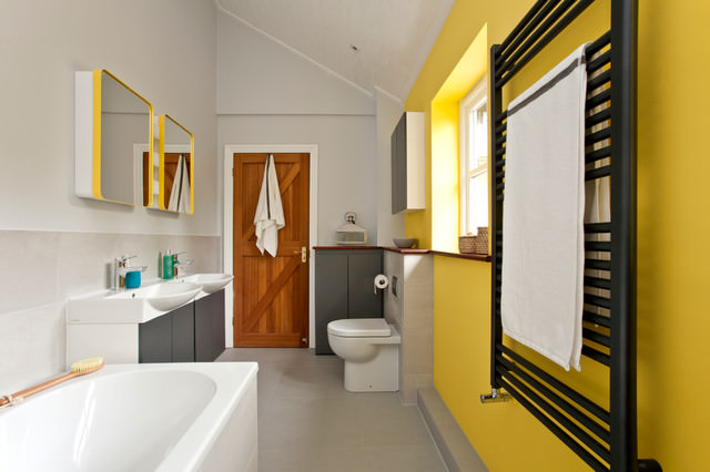 contemporary bathroom with yellow color walls