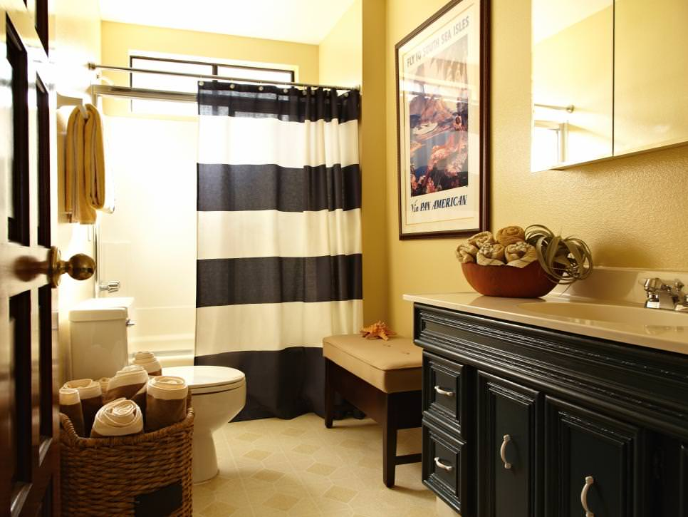 Sharp Black And Yellow Bathroom With Old World Charm