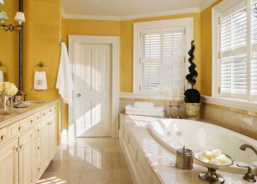 victorian bathroom with beautiful yellow walls