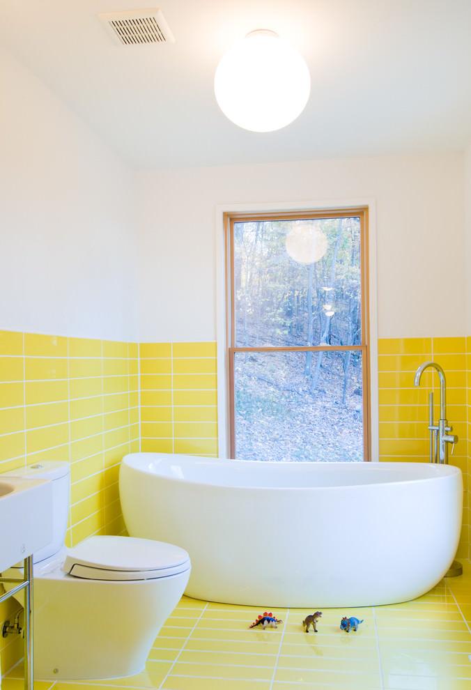yellow contemporary bathroom design