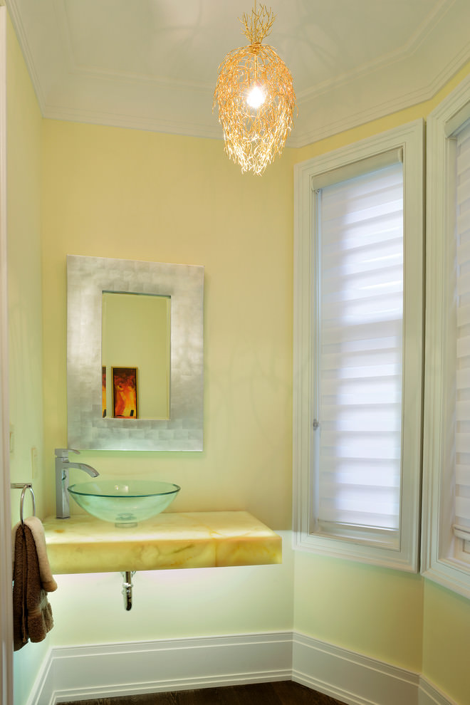 Yellow modern bathroom design