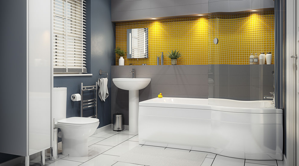 yellow pattern contemporary bathroom