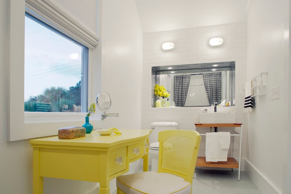 yellow table style bathroom design