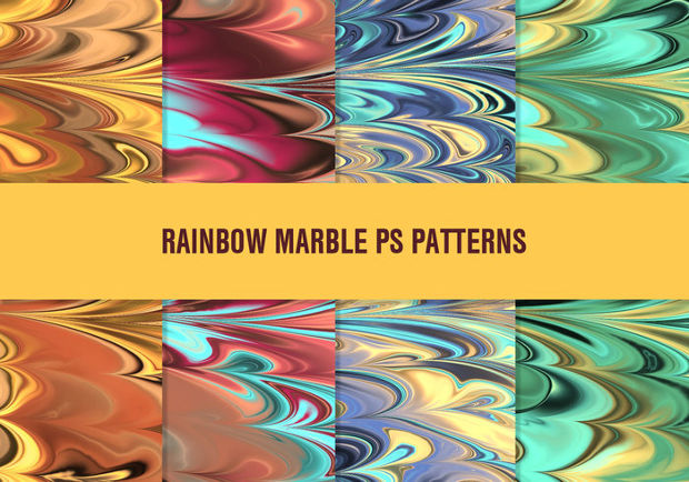 Rainbow Marble Photoshop Patterns