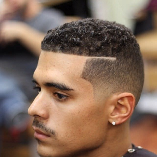 Nice Curly Fade Haircut Design