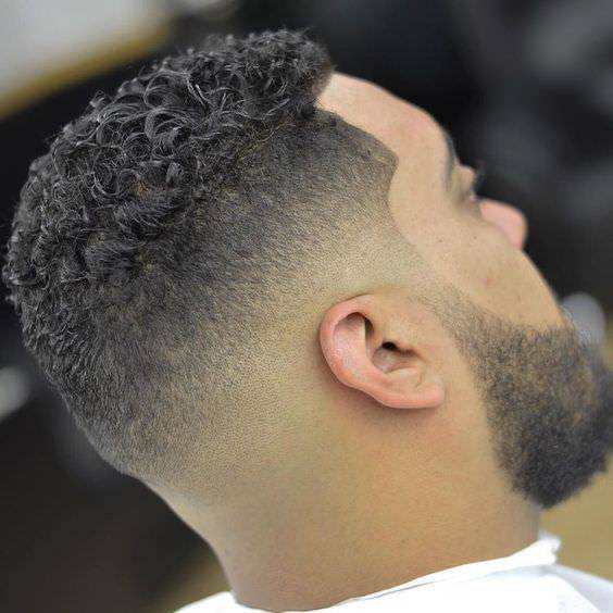 New Year Curly Fade Haircut Design