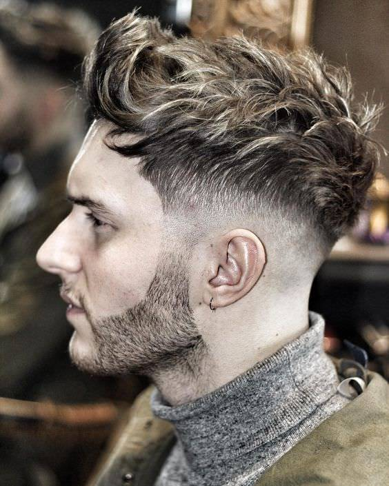 Mid Curly Fade Haircut Design