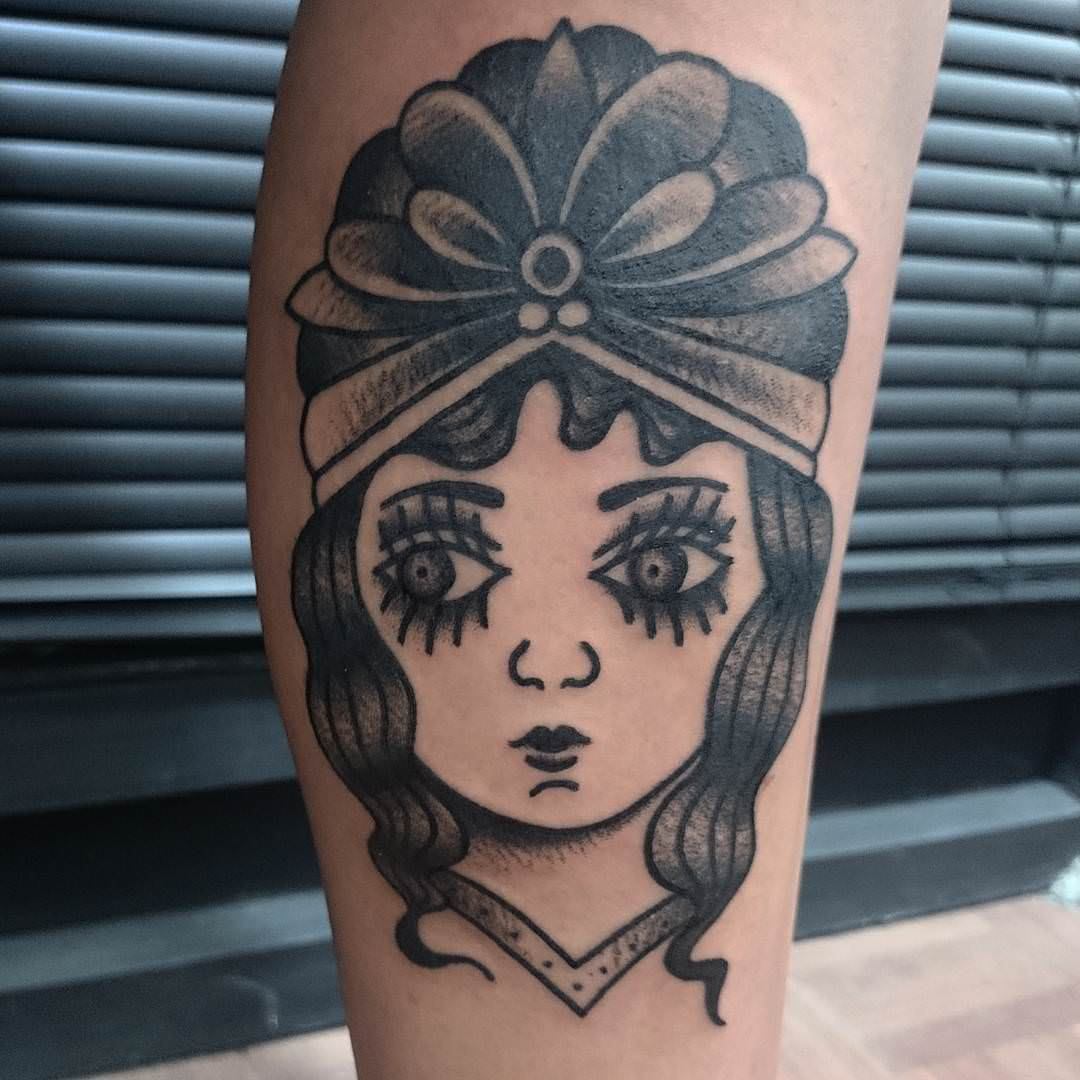 Girl Face Flash Design Tattoo
