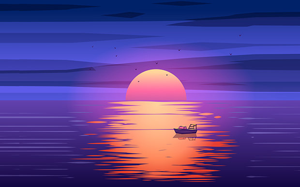 Awesome Fishing Boat Sunset Vector Download