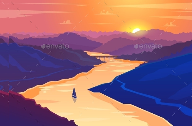 Sunset Landscape Vector Design Download